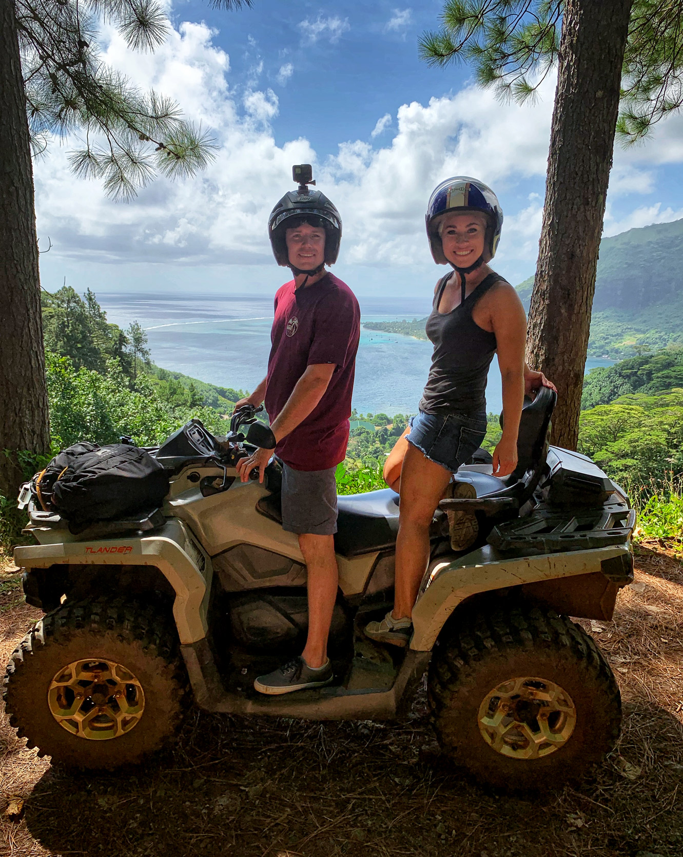 travel blogger Amanda on an ATV with Albert Tours in Moorea on the way up to Magic Mountain in Moorea, French Polynesia.