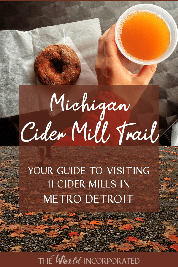 Michigan Cider Mill Trail pinnable image of autumn leaves, cider, and donut.