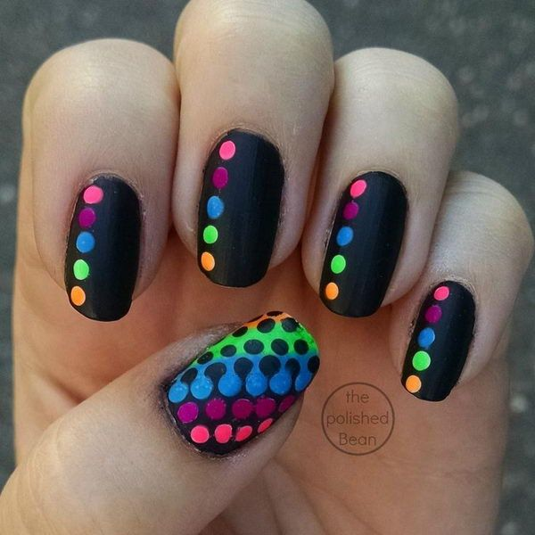 Black Rainbow Polka Dot Nails