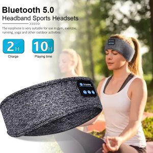 SPORTS HEADBAND WITH BUILT IN WIRELESS HEADPHONES