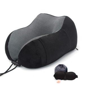 Memory Foam Travel Pillow - Black Set