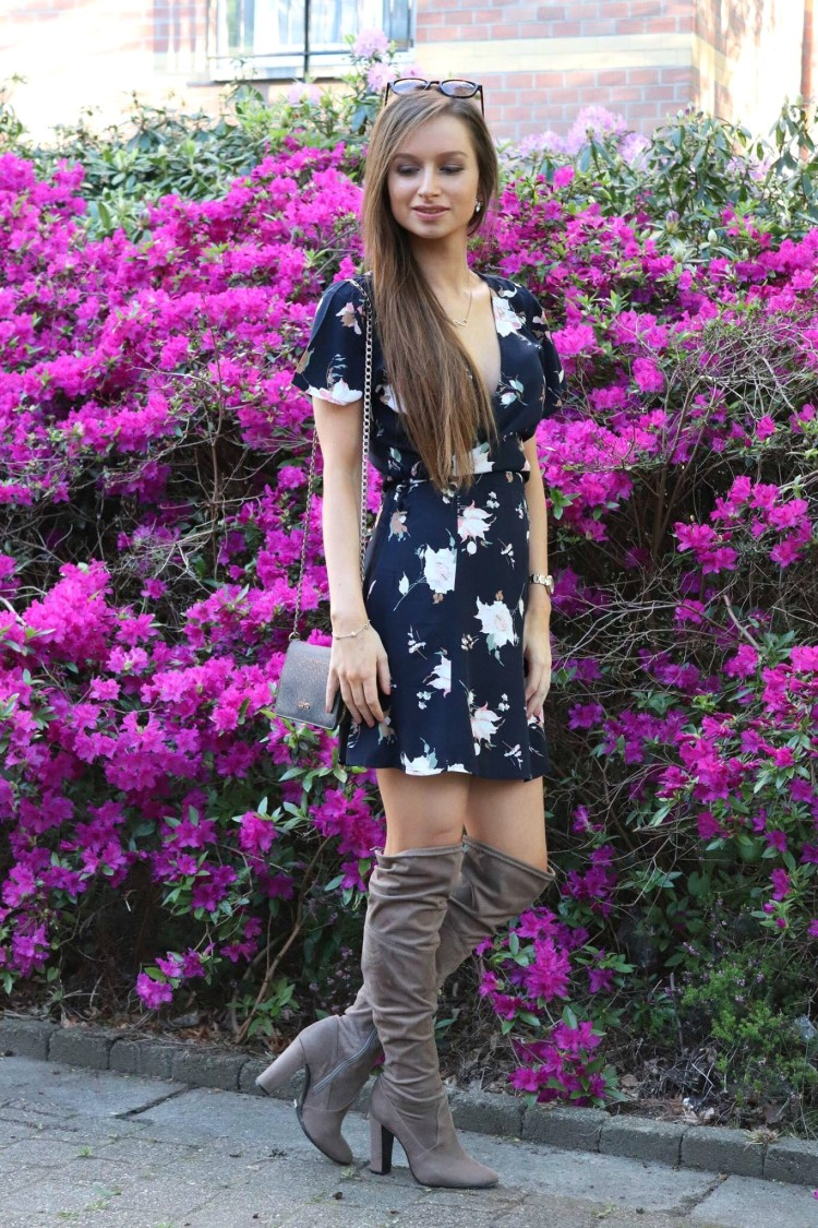 Abercrombie floral dress with over the knee boots and sunglasses
