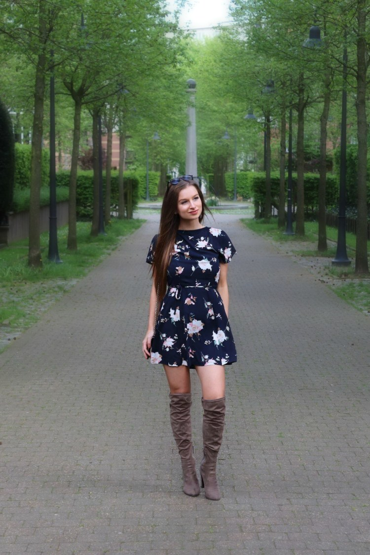 Abercrombie floral dress with over the knee boots wayfarer sunglasses