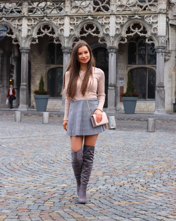 Winter outfit skirt with over the knee boots