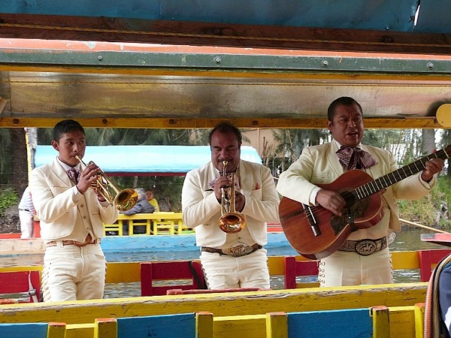 Xochimilco canal boat band in Mexico