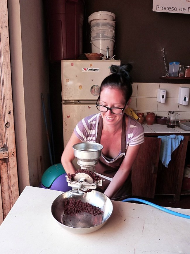 Grinding chocolate in Antigua, Guatemala