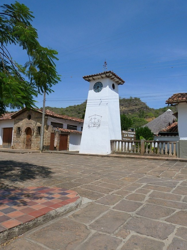 Town square in Guane, Colombia