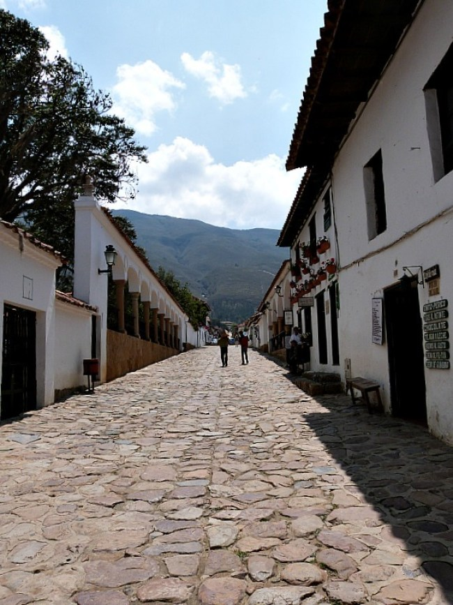 Cobbled street in Villa de Leyva, Colombia