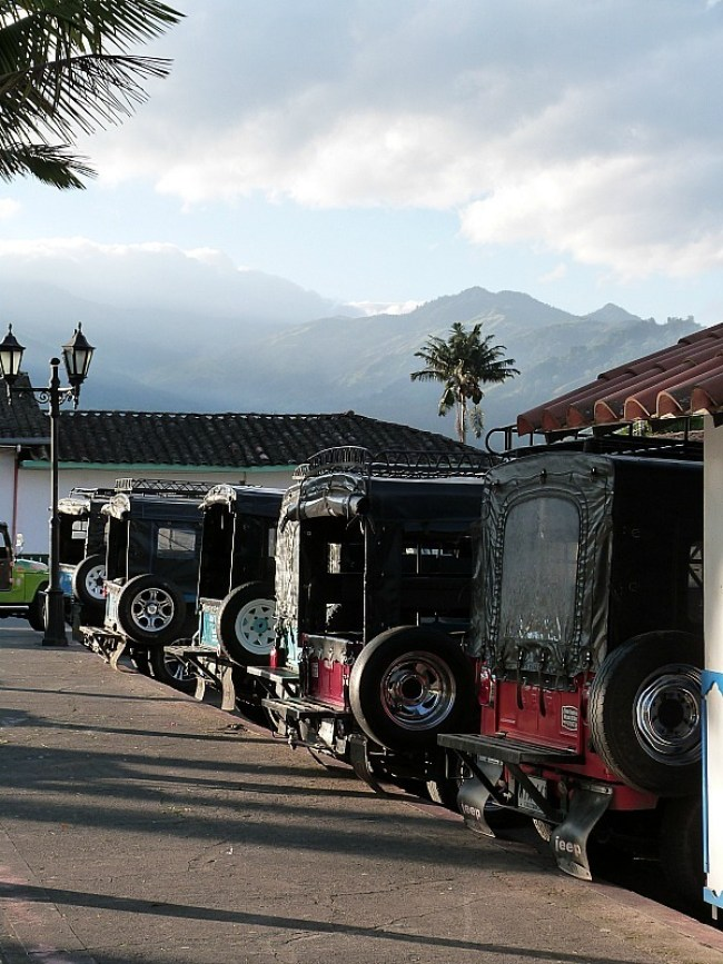 Jeeps lined up in the main square of Salento in Colombia's Coffee Region