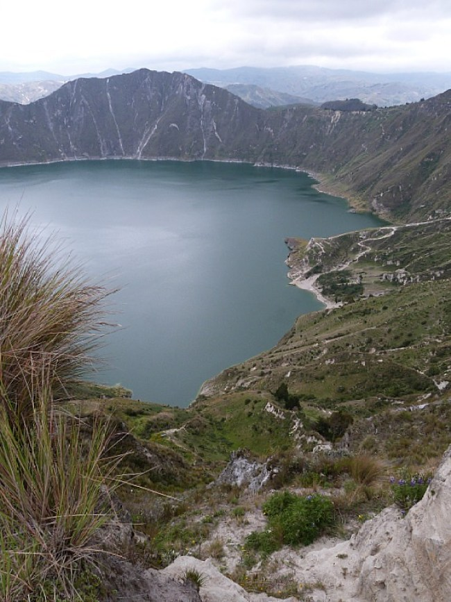 Crater lake on the Quilotoa Loop in Ecuador