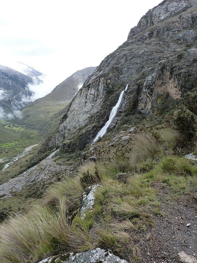 Waterfall on the hike to Laguna 69 in the Cordillera Blanca Mountains of Central Peru
