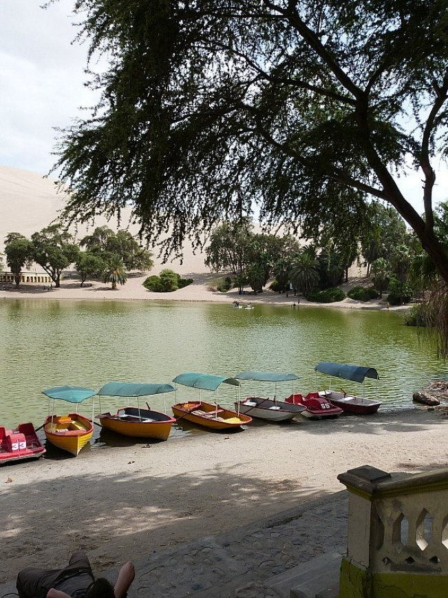 Lakefront in Huacachina in Peru