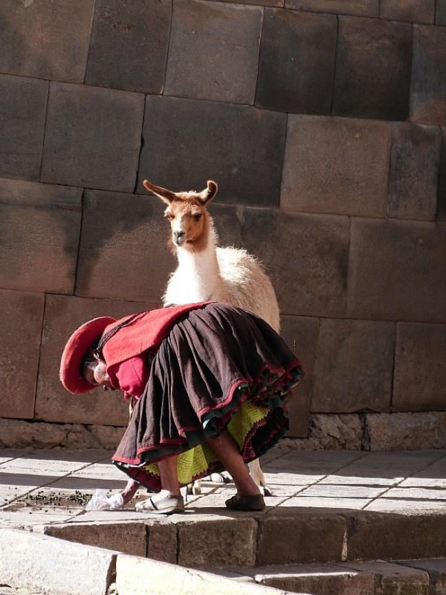 Local lady and her llama in Cusco, Peru