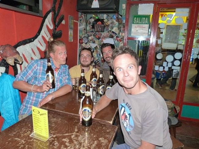 Drinking beers in Puno, Peru