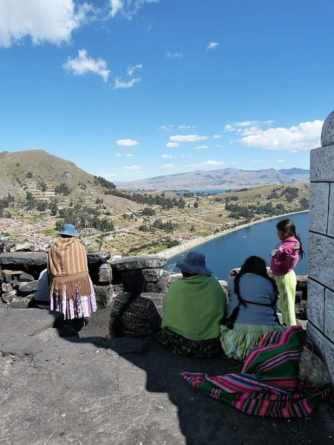 Viewpoint over Lake Titicaca in Copacabana, Bolivia