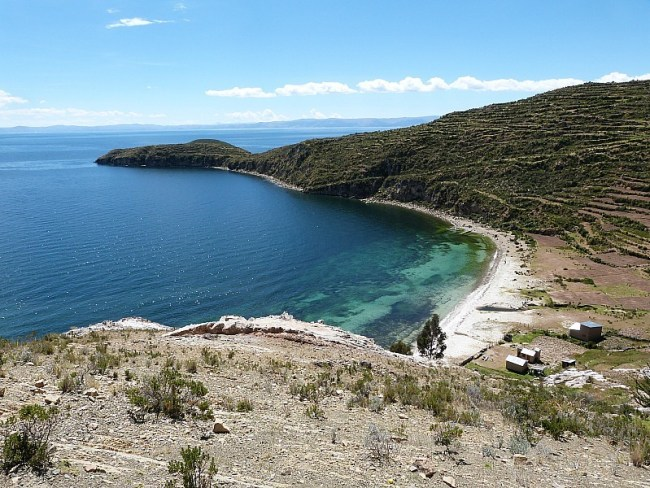 Beach on Isla del Sol in Lake Titicaca, Bolivia