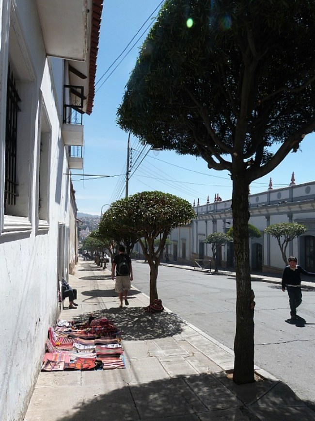 Quiet street in Sucre, Southern Bolivia