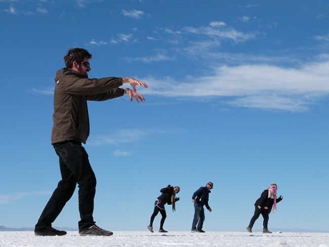 Playing around on the salt flats of South West Bolivia