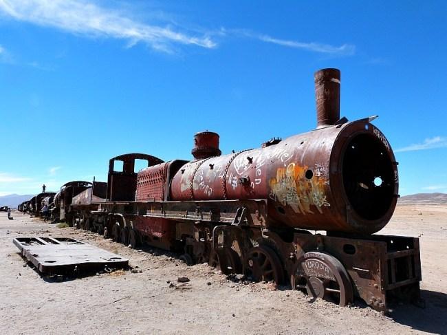 Train Graveyard near Uyuni in South West Bolivia
