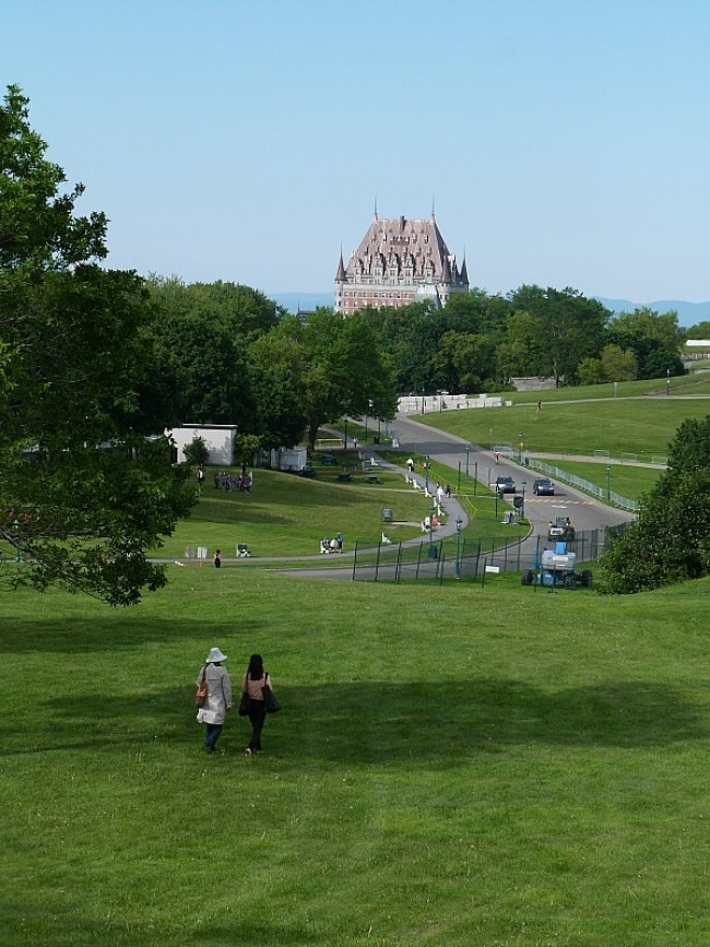 Battlefields Park with Le Chateau Frontenac in the distance in Quebec City