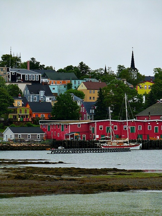 Colorful buildings in downtown Lunenburg in Nova Scotia