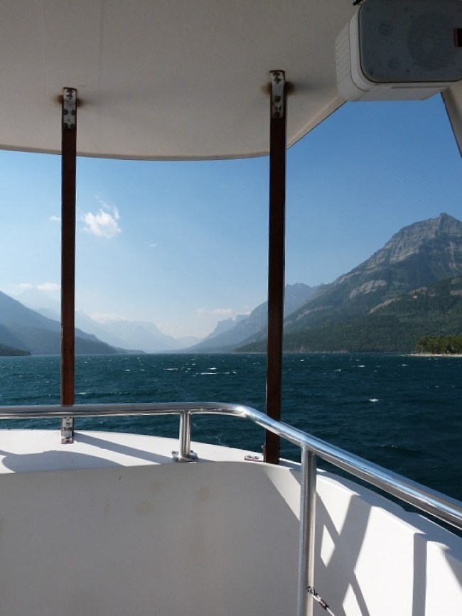 Taking the boat to the start of the Crypt Lake Hike in Waterton Lakes National Park