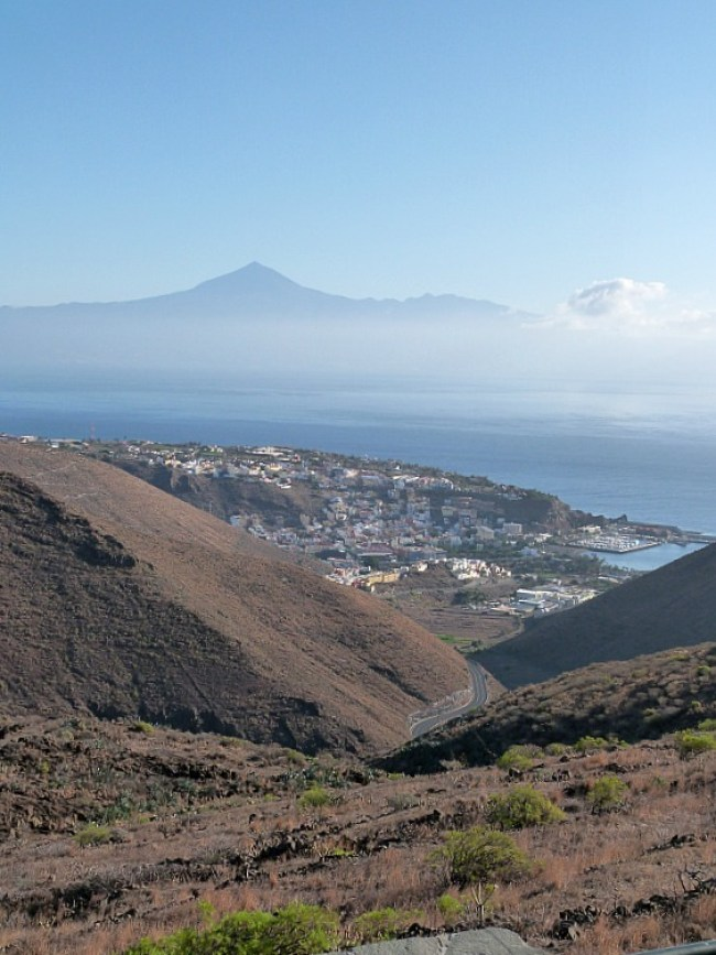 Amazing views over to El Teide on Tenerife from La Gomera in the Canary Islands