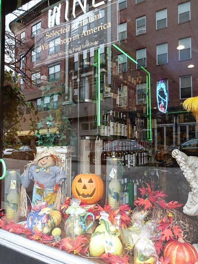 Fall displays in shop windows - one of the reasons to experience fall in north america