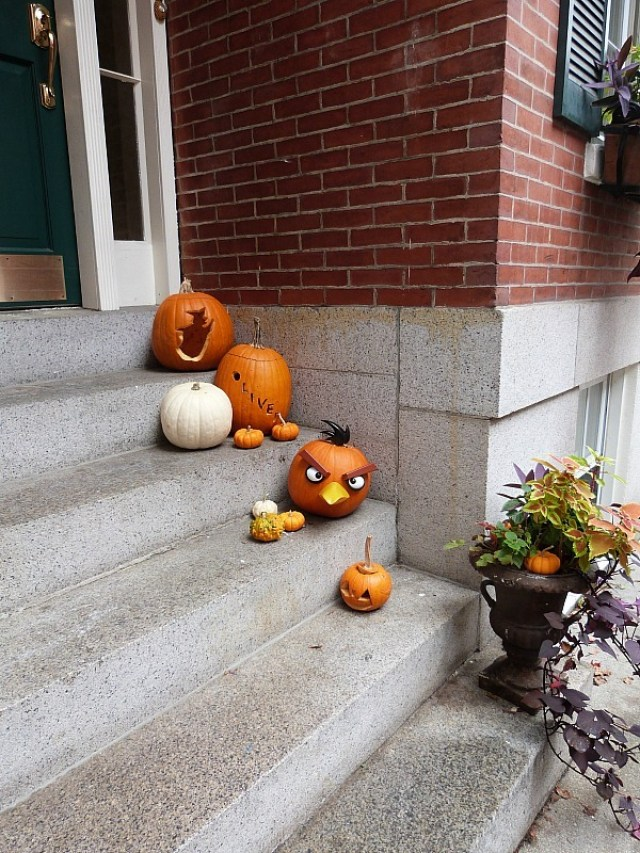 Carved pumpkins on stoops in Boston - one of the reasons to experience fall in north america