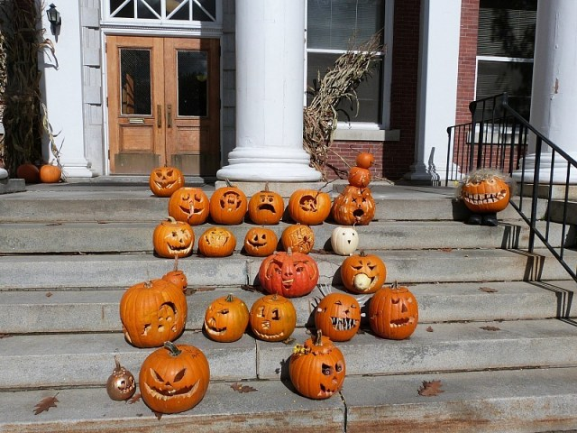 Intricately carved pumpkins - a great reason to experience fall in north america