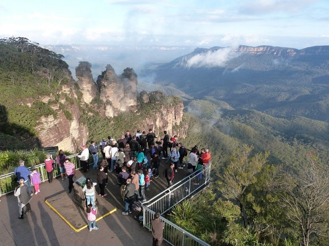 Lookout over the Three Sisters in the Blue Mountains of Australia