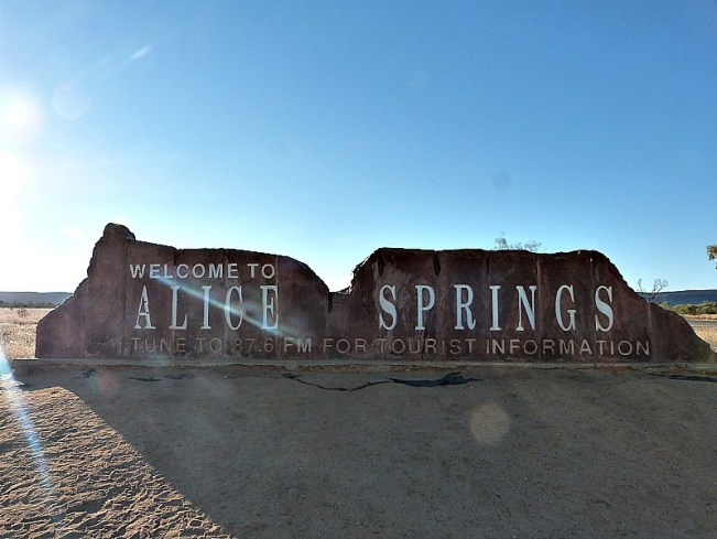 The Welcome to Alice Springs sign in Australia