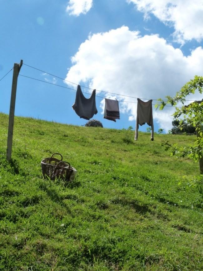 Hobbit laundry hung out at Hobbiton New Zealand