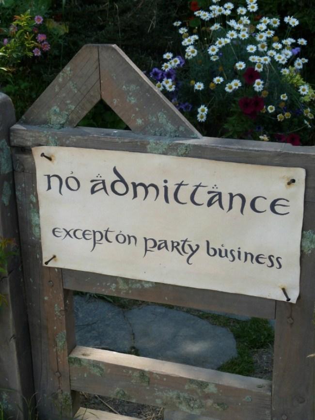 Party sign at Bag End at Hobbiton New Zealand