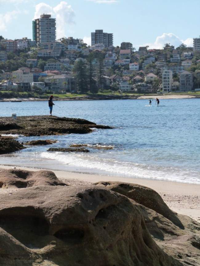 People fishing along the Manly to Spit walk