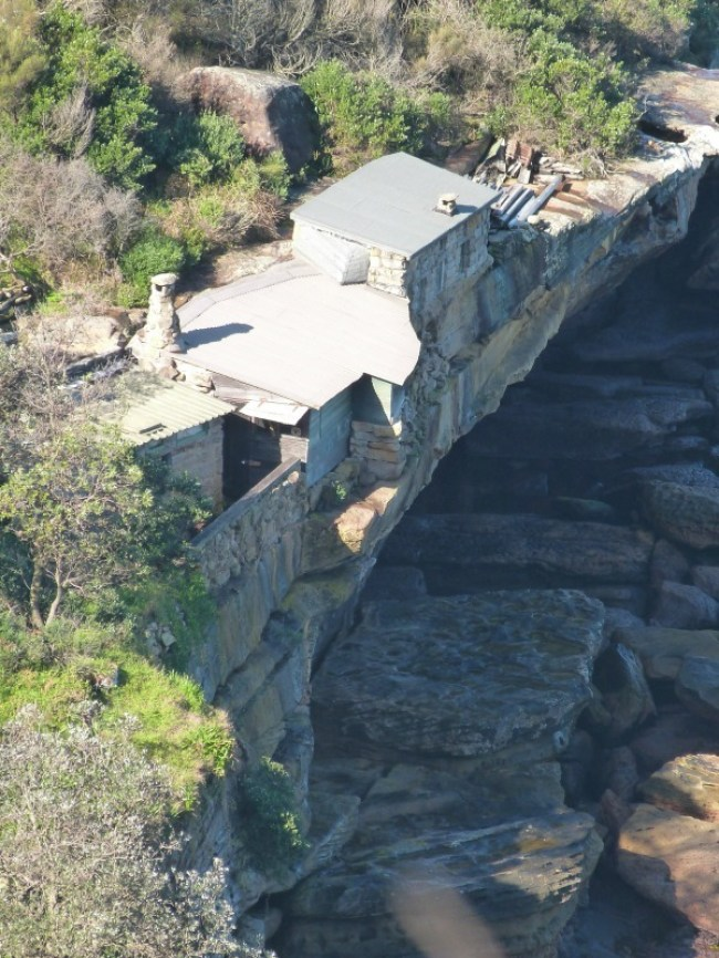 Ramshackle shacks in Crater Cove, as seen from the Manly to Spit walk