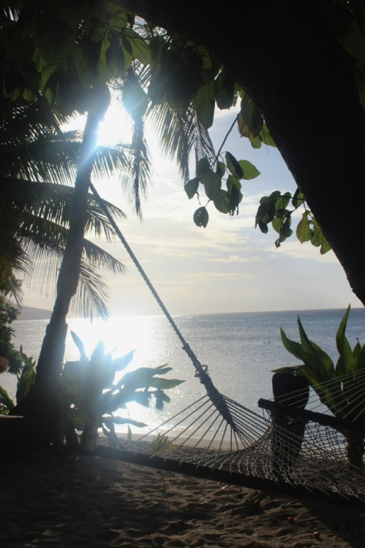 Hammocks to relax in at Blue Lagoon Resort on Nacula Island in the Yasawa Islands of Fiji