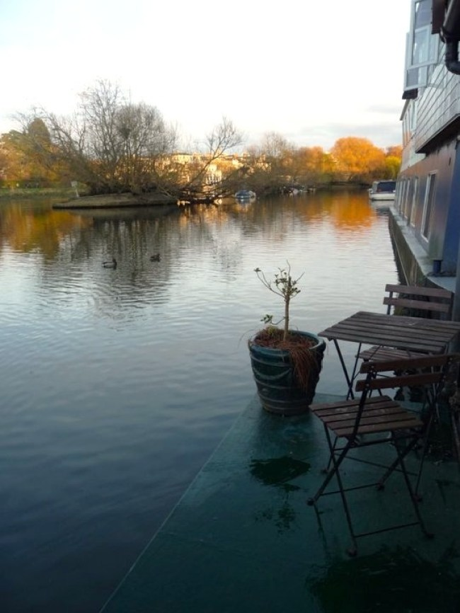 View from our houseboat in London