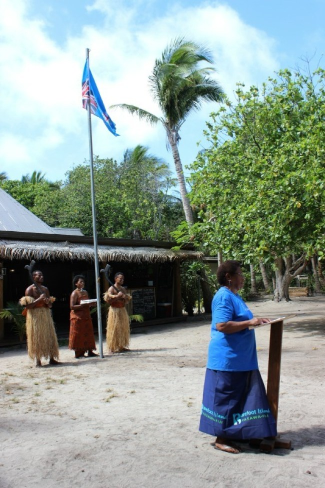 Traditional ceremony and flag raising for Fiji Day on Barefoot Island