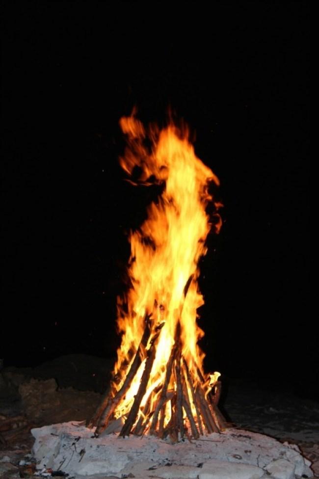 Fire on Barefoot Island in Fiji