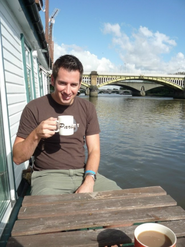 Enjoying coffee on the front deck of our London Houseboat