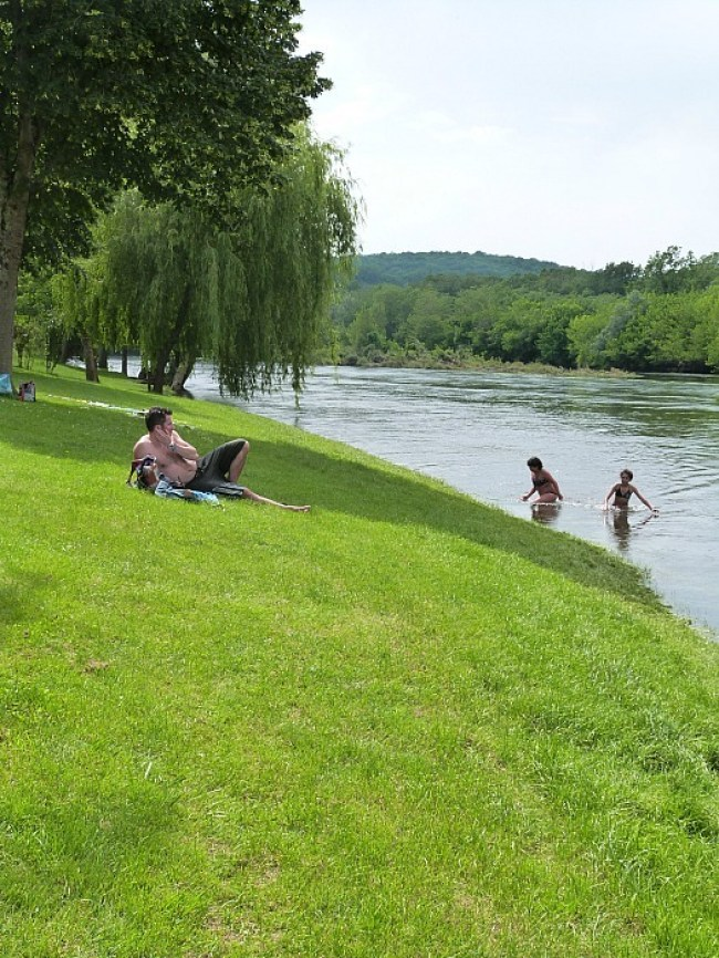Swimming in the Dordogne River in France