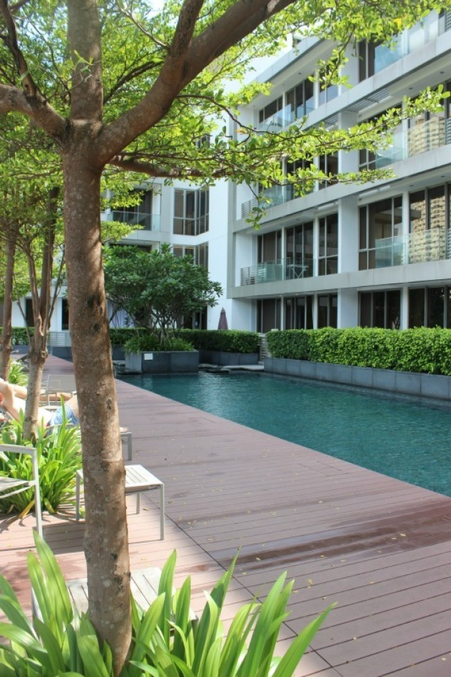 Swimming at the Dorsett Hotel pool during our 24 hours in Singapore