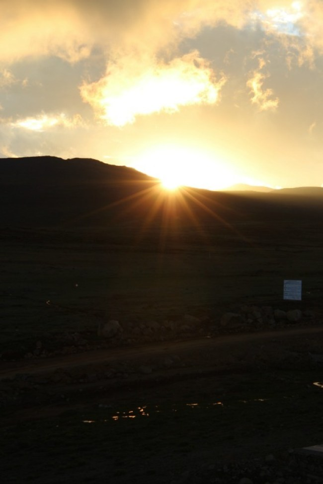 Views from Sani Mountain Lodge in Sani Top. Lesotho for the sunset
