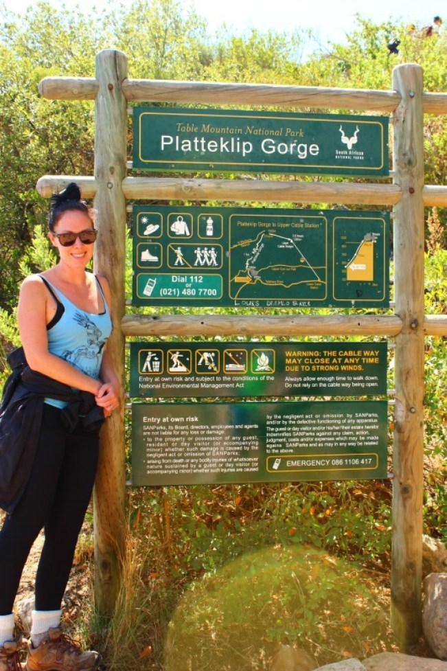 The start of the Platteklip Gorge hike up Table Mountain in Cape Town