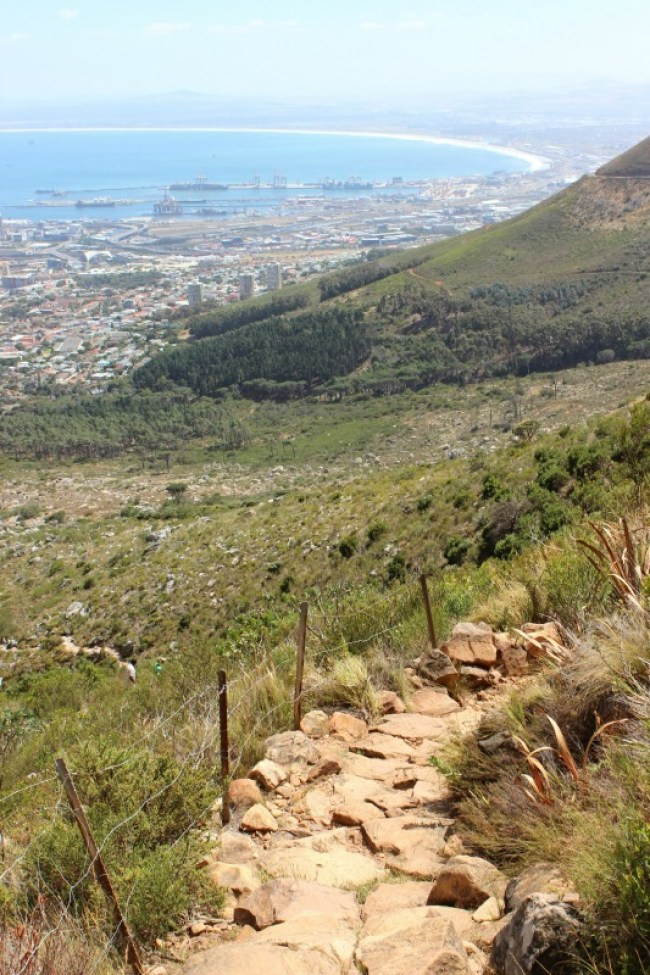 Views from the Platteklip Gorge trail up Table Mountain in Cape Town