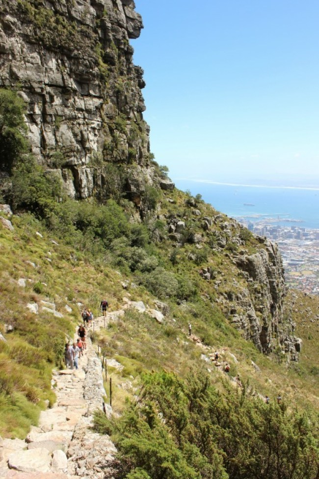 Hiking the difficult Platteklip Gorge up Table Mountain in Cape Town