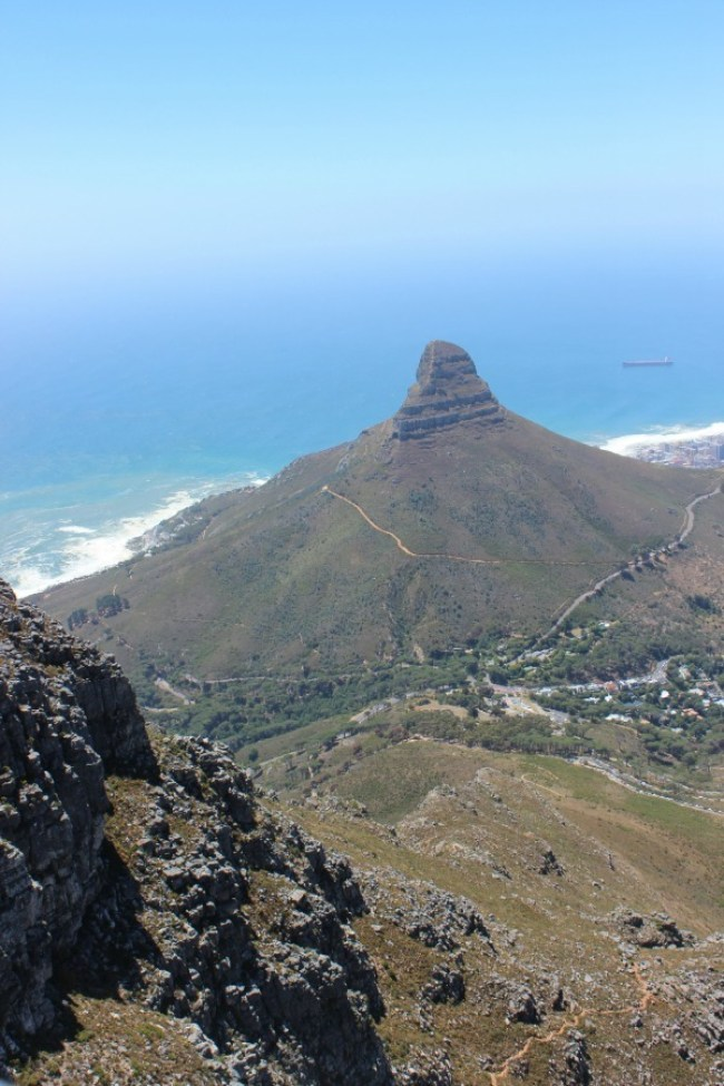 View over Lions Head from the top of Table Mountain in Cape Town, South Africa