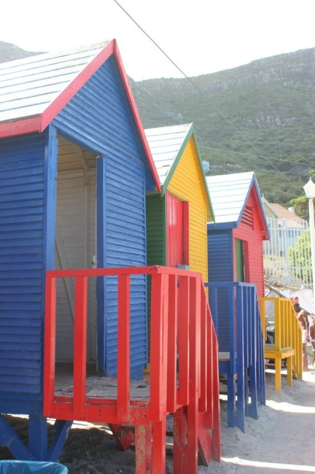 Colorful beach huts in St James, Cape Town
