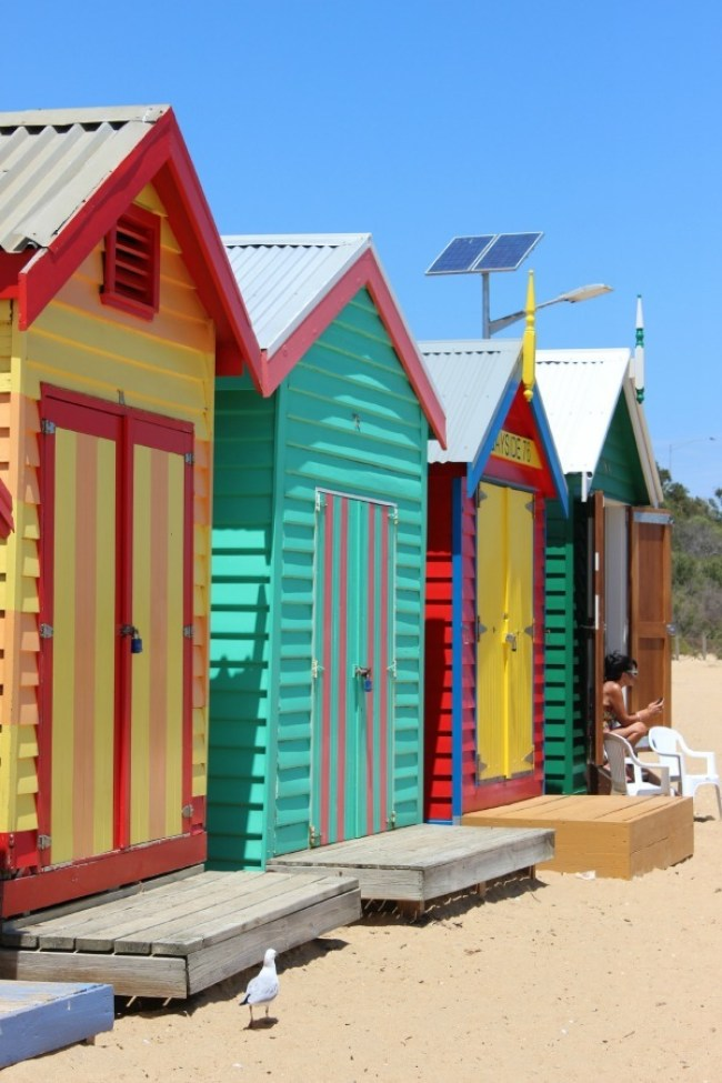 Colorful beach huts at Brighton Beach in Melbourne, Australia